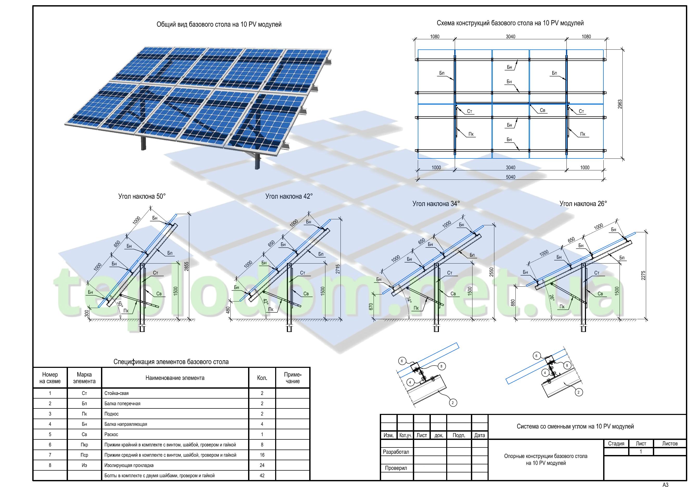 проект солнечной электростанции, монтажные крепления на 10 ФЭМ